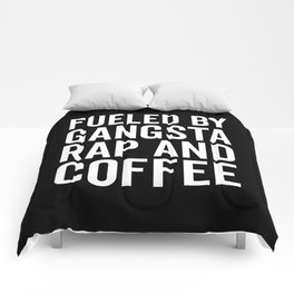 Gangsta Rap And Coffee Funny Quote Comforters