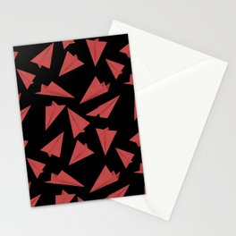 Paper Planes Pattern | Red Black Stationery Cards