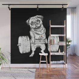 Pug Lift in Black Wall Mural