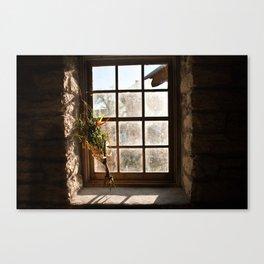 Barn Window and Flowers Canvas Print