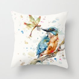 Interesting Relationships (Kingfisher & Dragonfly) Throw Pillow