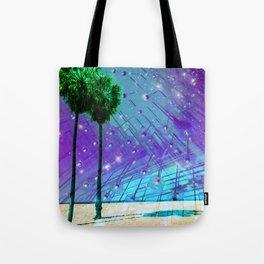 Venice Vaporwave Beach Meteor Light Show Tote Bag