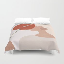 Lady with a Red Leaf Duvet Cover