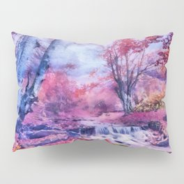 Waterfall in colorful autumn forest Pillow Sham