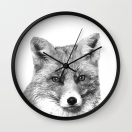 Black and White Fox Wall Clock