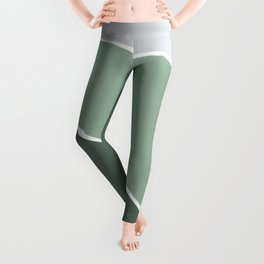 Diagonal Color Block in Green and Gray Leggings