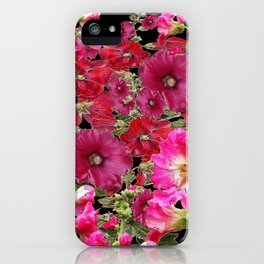 WESTERN  PINK HOLLYHOCKS PATTERNED ART iPhone Case