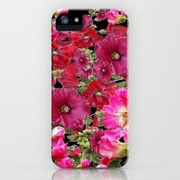 WESTERN  PINK HOLLYHOCKS PATTERNED ART iPhone Case