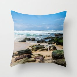 Beach and Rocks Throw Pillow