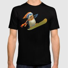 Funny Mr. Penguin riding snowboard Black SMALL Mens Fitted Tee