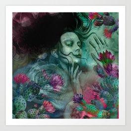 """""""Sirena between pastel cactus flowers"""" Art Print"""