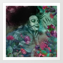 """Sirena between pastel cactus flowers"" Art Print"