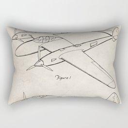 Lockheed P-31 Airplane Patent - Lightning Aircraft Art - Antique Rectangular Pillow