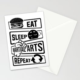 Eat Sleep Martial Arts Repeat - Martial Art Fight Stationery Cards