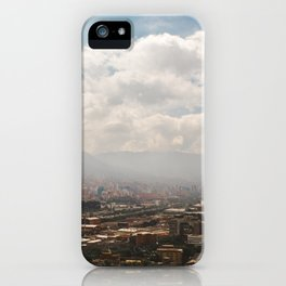 Misty mountain cityscape of Medellín, Colombia iPhone Case