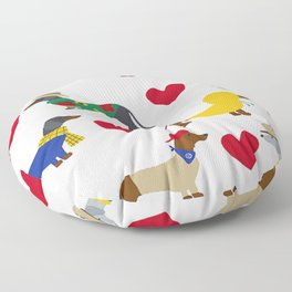 Cute Dachshund Dogs with Red Hearts Floor Pillow