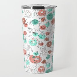 Snail Doodle in White Travel Mug