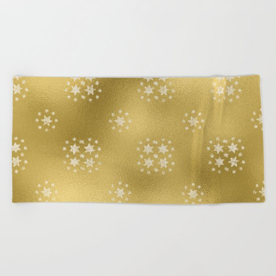 Merry christmas- white winter stars on gold pattern I Beach Towel
