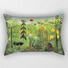 Exotic Jungle Landscape with Lion and Lioness by Henri Rousseau Rectangular Pillow