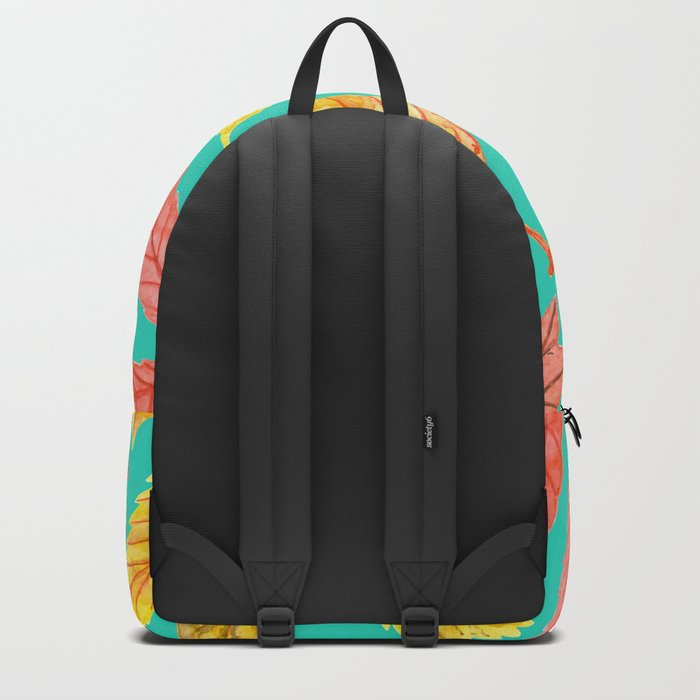 Autumn leaves watercolor teal Backpack