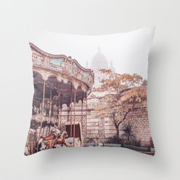 Paris Carousel and Sacre Coeur Throw Pillow