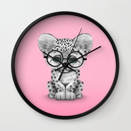 Cute Snow Leopard Cub Wearing Glasses on Pink Wall Clock
