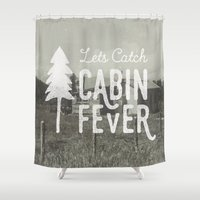 cabin Shower Curtains featuring CABIN FEVER by cabin supply co