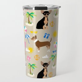 Chihuahua beach summer tropical cute chihuahuas dog gifts Travel Mug