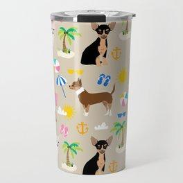 Chihuahua beach summer tropical cute chihuahuas dog gifts Travel Mug
