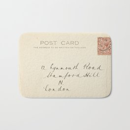Retro post card  with address and stamp Bath Mat