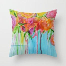 Running Roses Throw Pillow