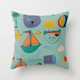 cat and bear at the beach blue green Throw Pillow