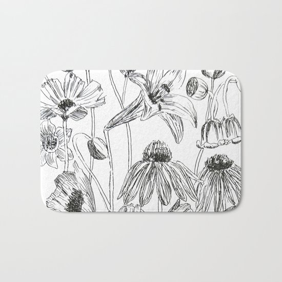 flower party black and white Bath Mat