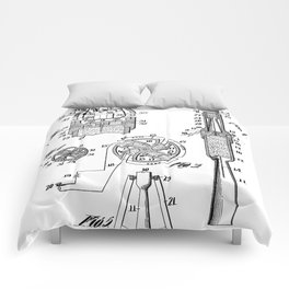 Rocket Ship Patent - Nasa Rocketship Art - Black And White Comforters
