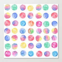 Artistic hand painted pink blue green watercolor brush strokes polka dots Canvas Print