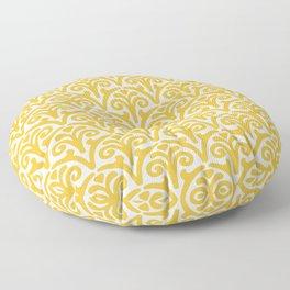 Floral Scallop Pattern Mustard Yellow Floor Pillow
