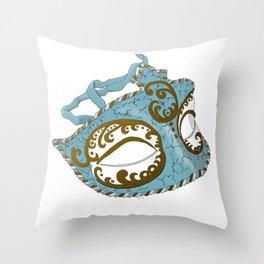 Venetian Mask - Blue Throw Pillow