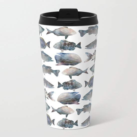 Fish Pattern Metal Travel Mug