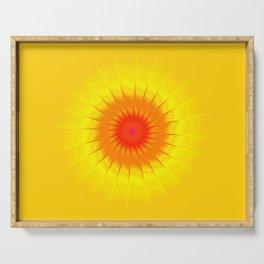 Fractal sun, fiery sun, fractal starburst. Serving Tray