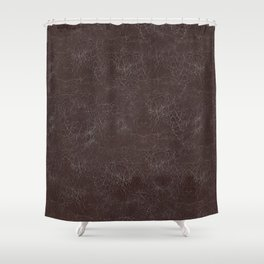 Brown Cracking  Leather-Look Shower Curtain