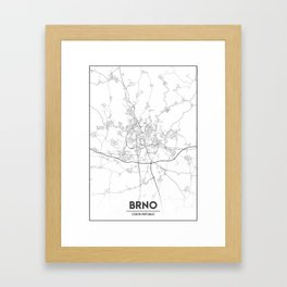 Minimal City Maps - Map Of Brno, Czech Republic. Framed Art Print