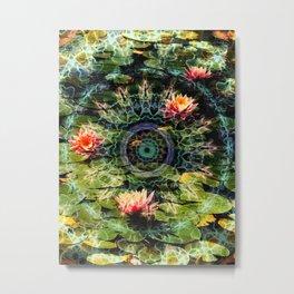Mandala in a Lotus Pond Metal Print