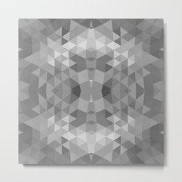 Black and White Fractal Geometric Pattern Metal Print
