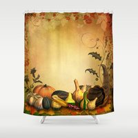 thanksgiving Shower Curtains featuring Thanksgiving Harvest by FantasyArtDesigns