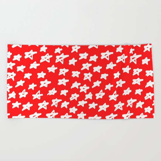 Stars on red background Beach Towel