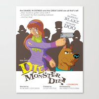 monster inc Canvas Prints featuring Mystery Inc. (Die Monster Die! Variant) by Winged Bomb
