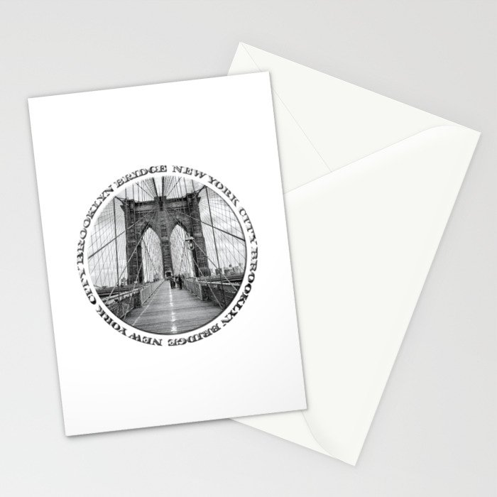 Brooklyn Bridge New York City (black & white with text) Stationery Cards