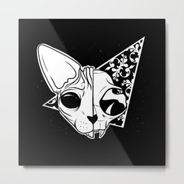 Half and half sphynx cat skull Metal Print