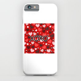 XOXO Valentine Pattern With Hearts iPhone Case