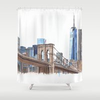 brooklyn bridge Shower Curtains featuring Brooklyn Bridge by Christina Brunnock